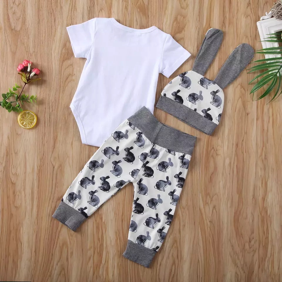 My First Easter 3 Piece Pants Set - Gray