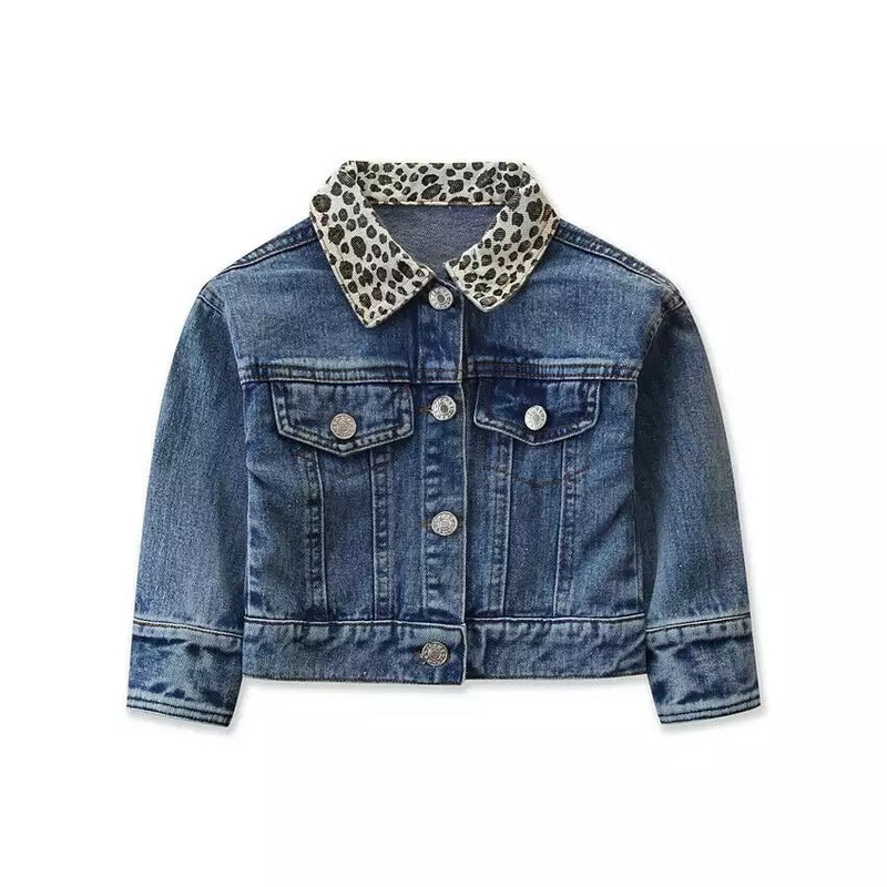 Leopard Collared Jean Jacket