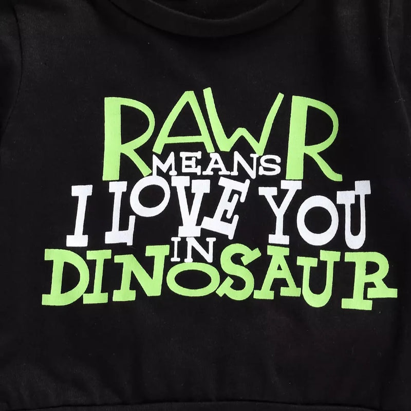 I Love You In Dinosaur Long Sleeve and Pants Set