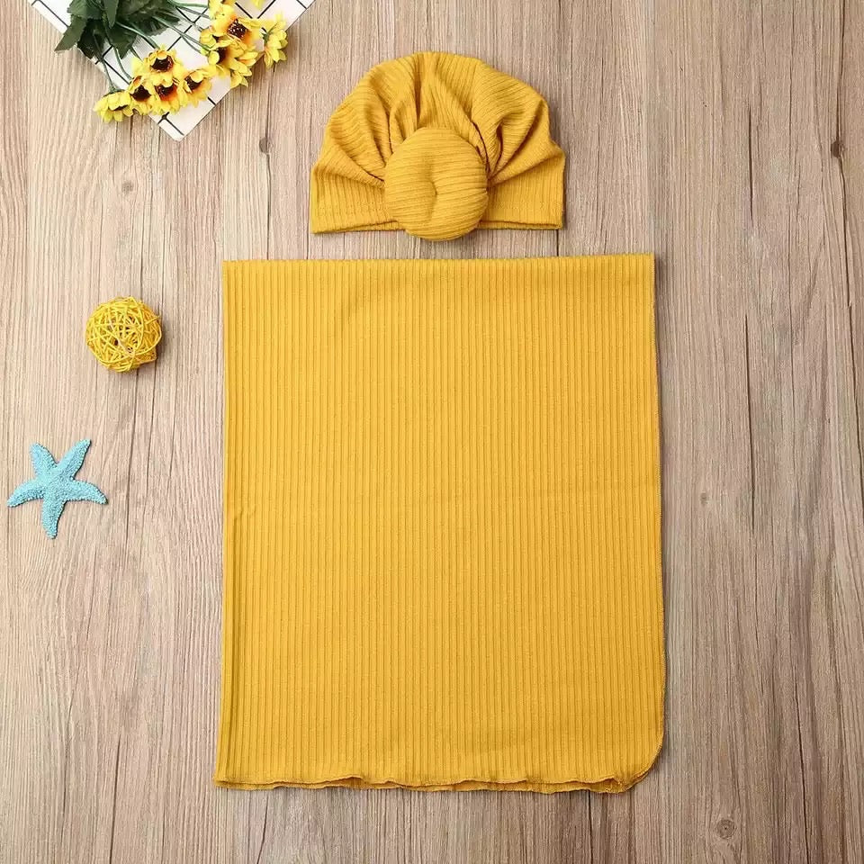 Receiving Blanket and Turban Beanie Set - Mustard