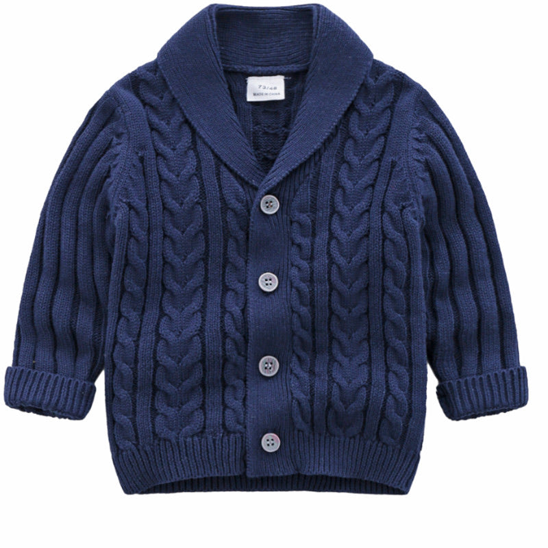 Knitted Boy Cardigan - Blue