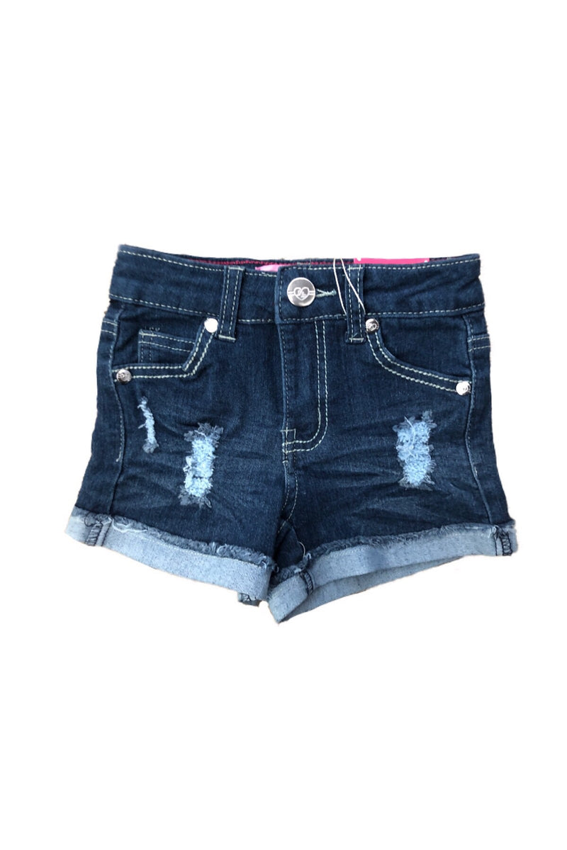 Midnight Denim Distress Shorts