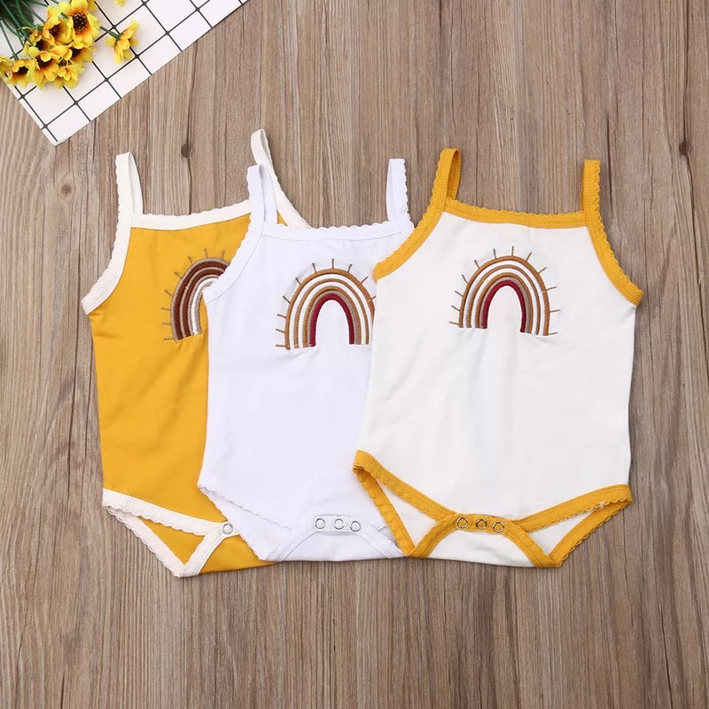 Rainbow Strap Onesie -White with yellow trim