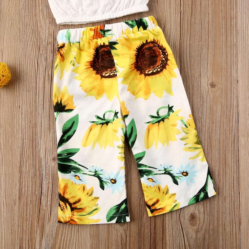 Sunflower Pants and Crop Top Set