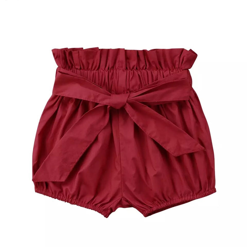 Tie front bloomer shorts - Red
