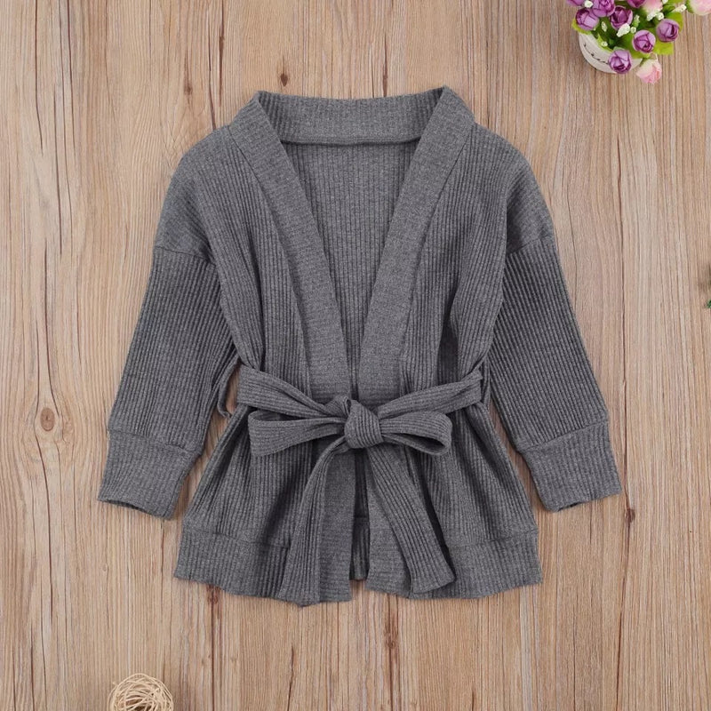 Open-Front Rib Cardigan - Gray