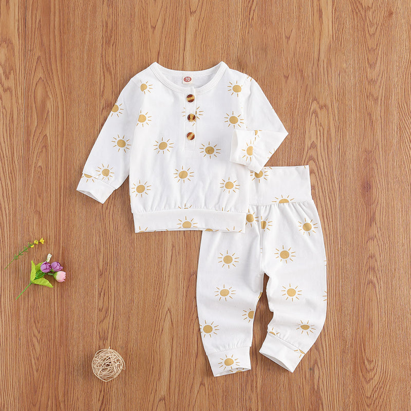 Sun Print Sweater and Pants Set - White