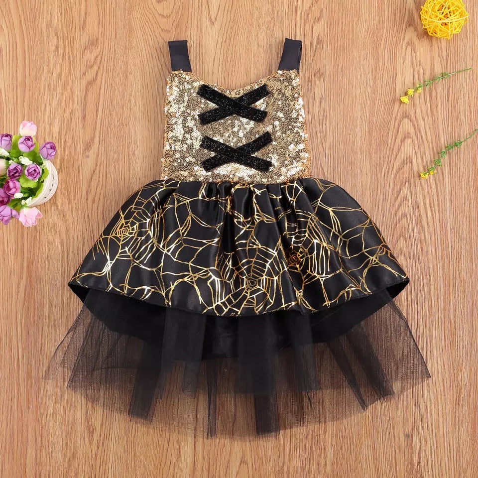 """Gold"" Sequined Spider Web Dress"