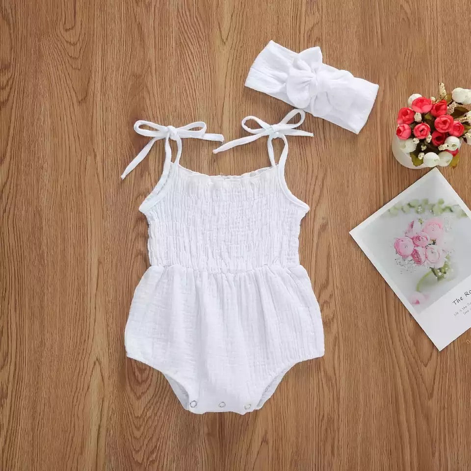 Loose fit tied spagetti strap onesie - White