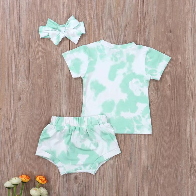 Baby girl tie dye bloomer set - Mint