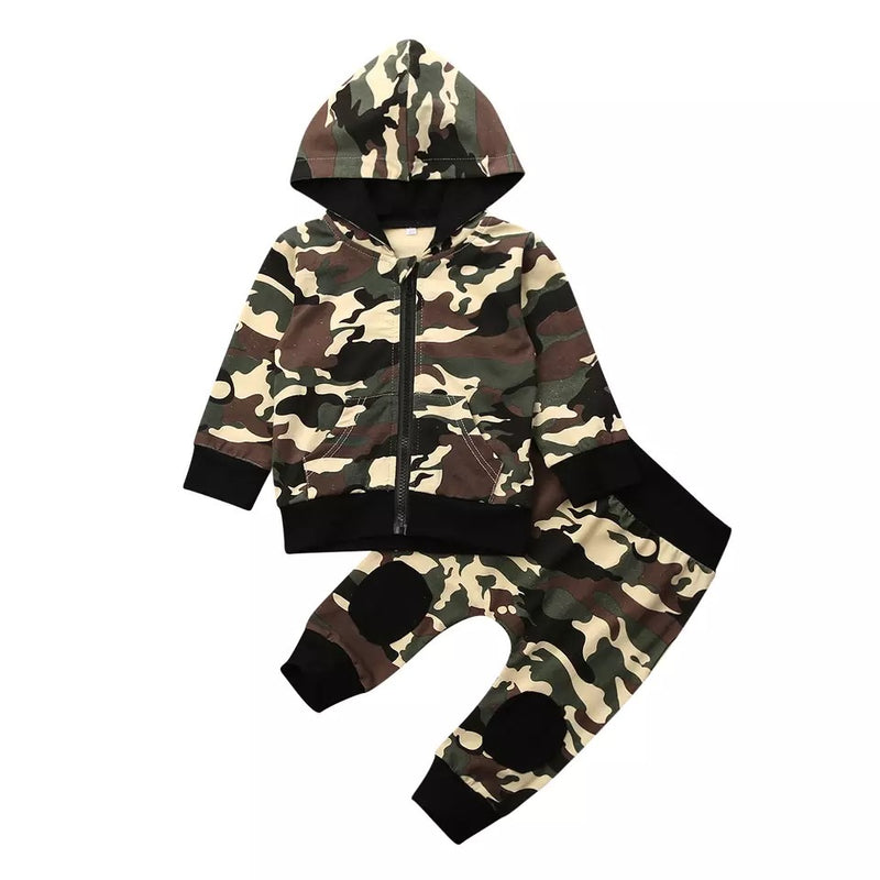 Camo Hooded Jacket and Pants Set