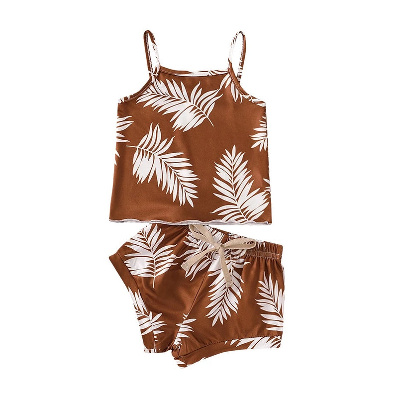 Tropical palm 2 piece - Brown