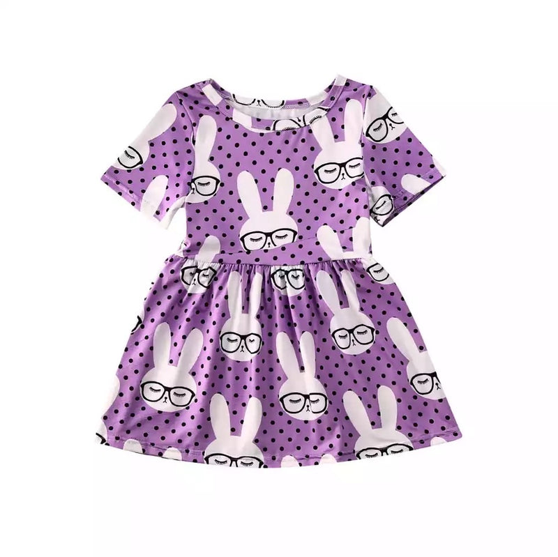 Animated Bunny Pleated Dress - Purple