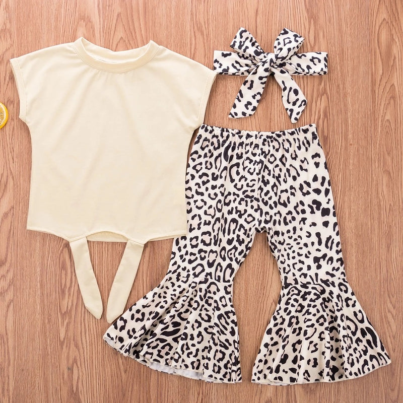 Leopard Bell Bottom 3 Piece Set