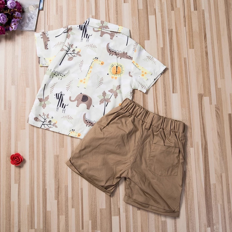 Animal Print Collard Shirt and Shorts Set