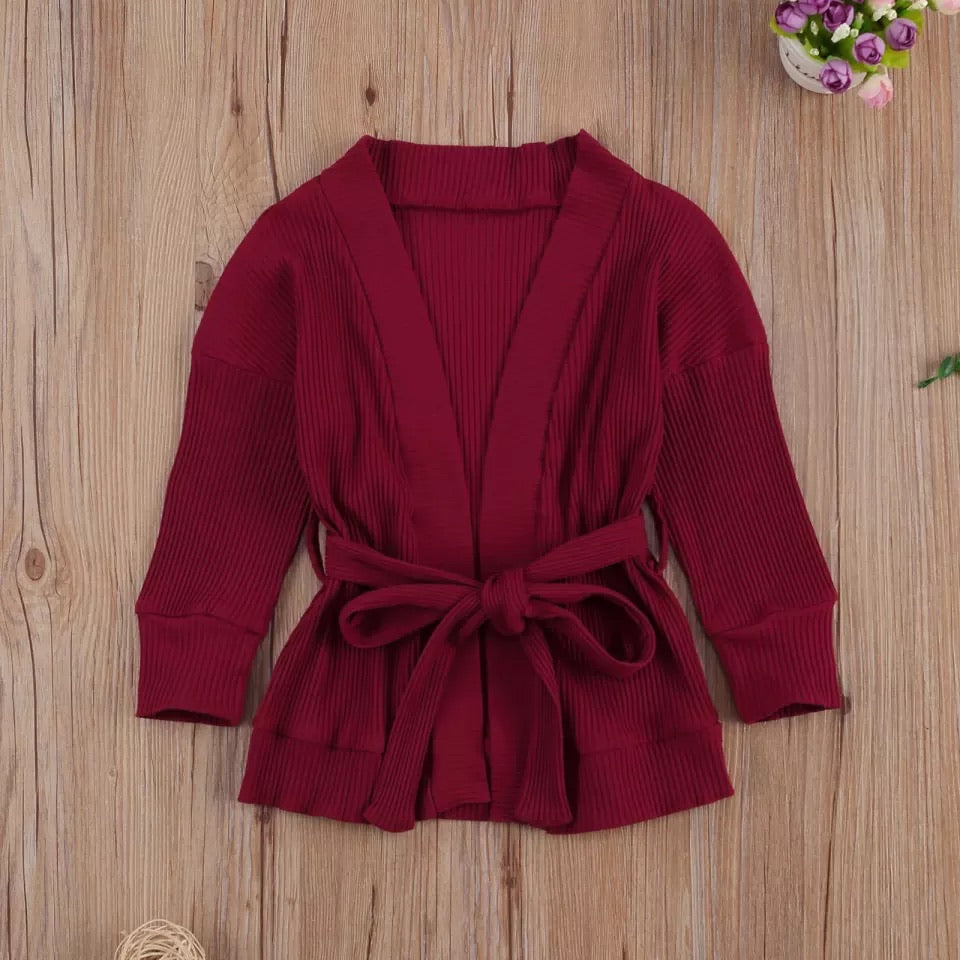 Open-Front Rib Cardigan - Red