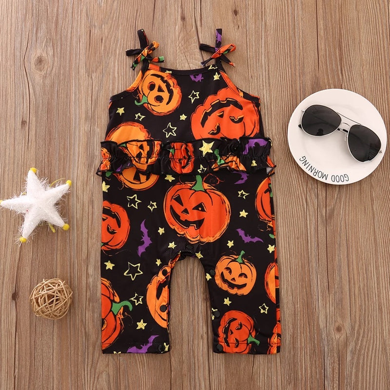 Spagetti Strap Halloween Romper - Black and Orange Pumpkin