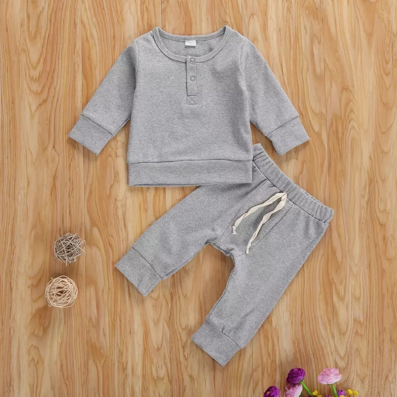 Liam Solid Sweater and Pants Set - Gray