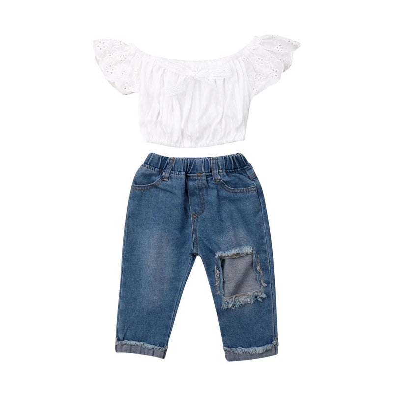 Boyfriend Cut Jean And Off The Shoulder Set