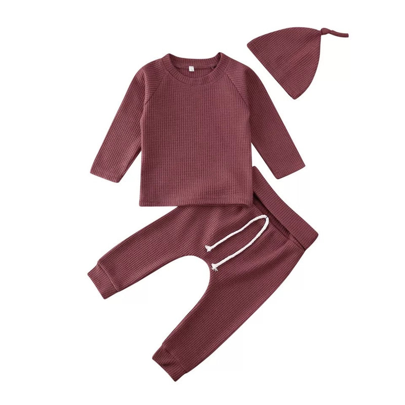 Simple 3 Piece Cotton Set - Maroon