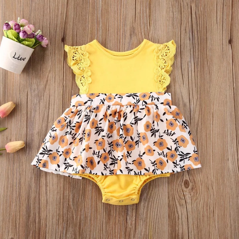 Yellow Fluttered Sleeve Floral Sister Set