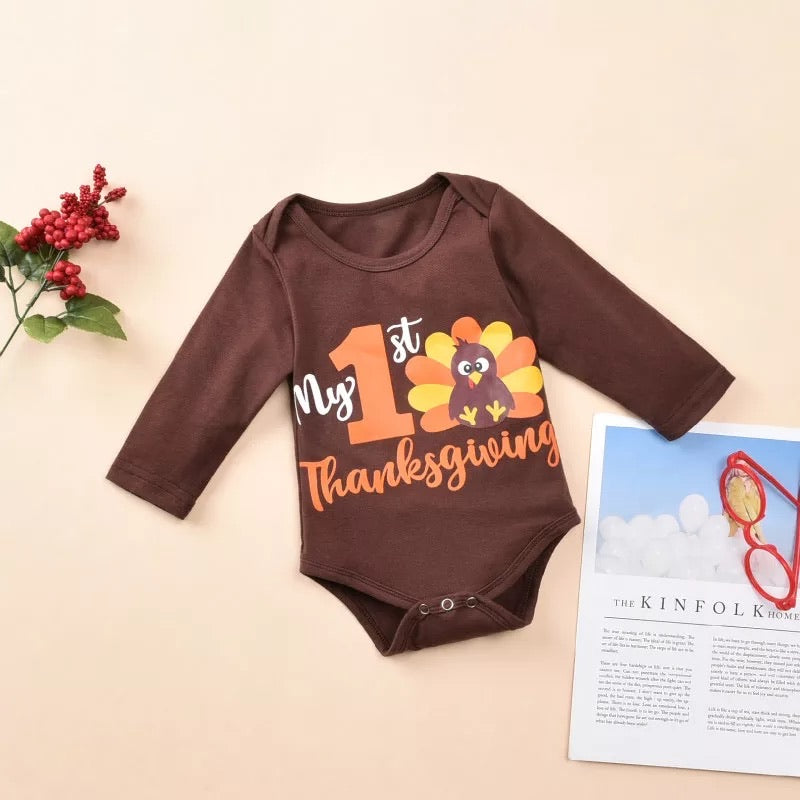 Brown My 1st Thanksgiving Long Sleeve Romper Set