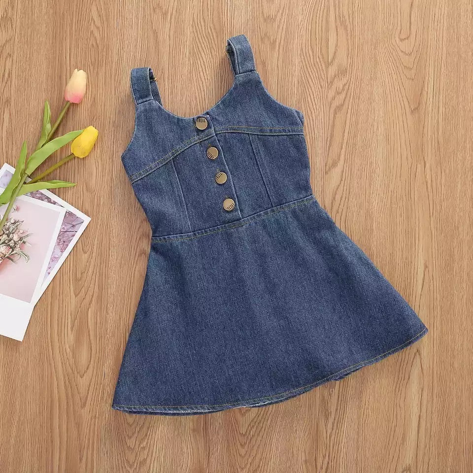 Denim open back dress