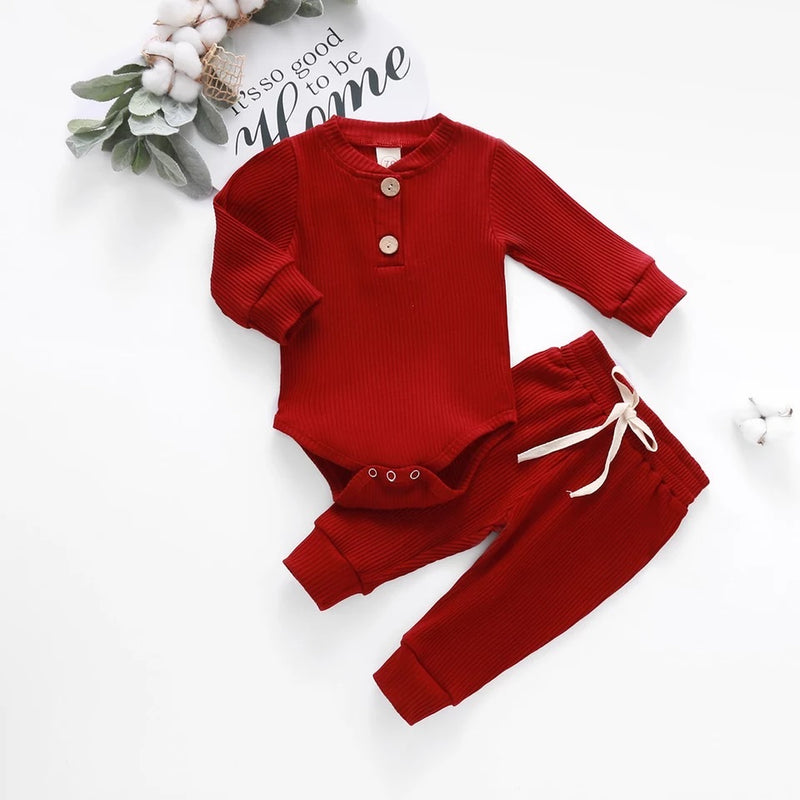 Basic Baby Ribbed Onesie and Pants Set - Red