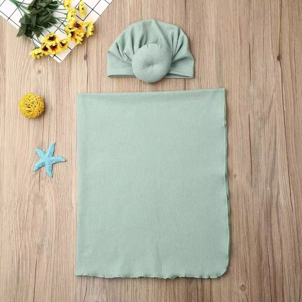 Receiving Blanket and Turban Beanie Set - Green