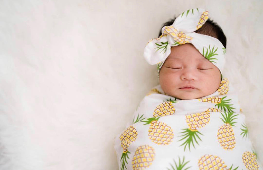 Pineapple Swaddle Blanket and headband