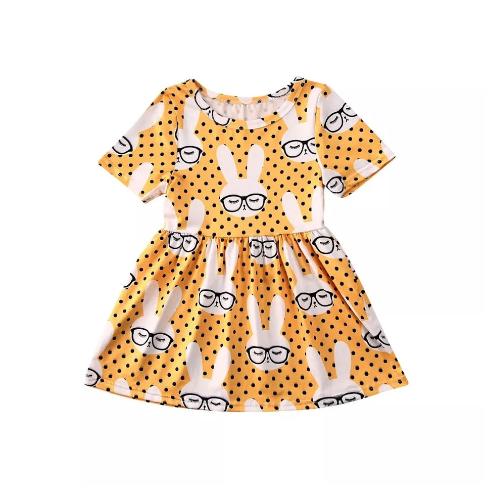 Animated Bunny Pleated Dress - Yellow