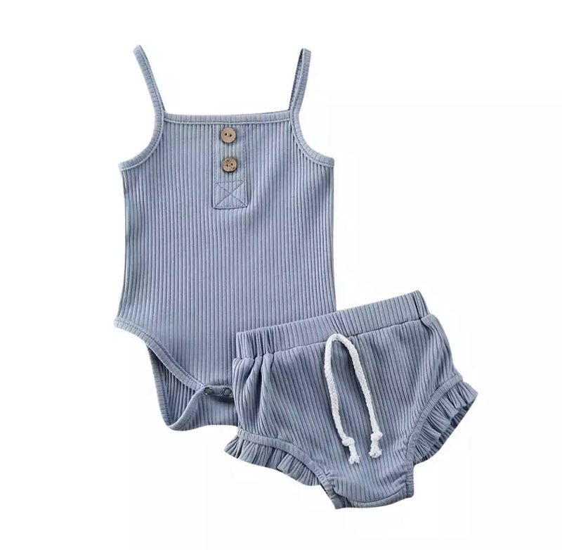 Evelyn 2 Piece Bloomer Set - Blue