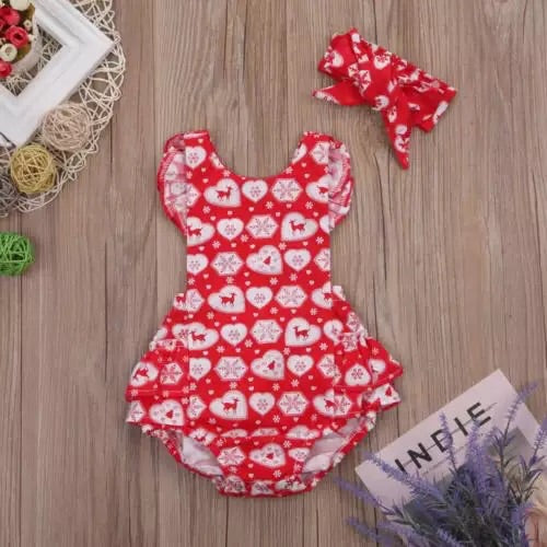 Red heart deer christmas romper