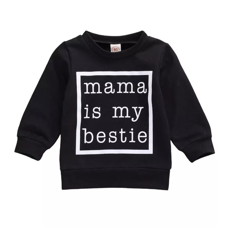 Mama Is My Bestie Sweater - Black