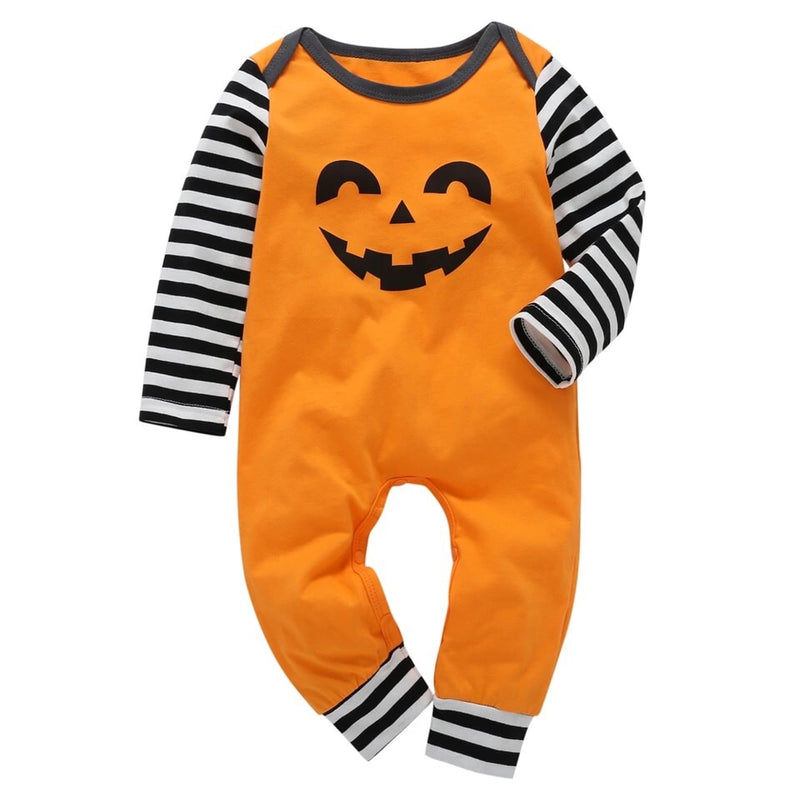Pumpkin Face Long Sleeve Romper