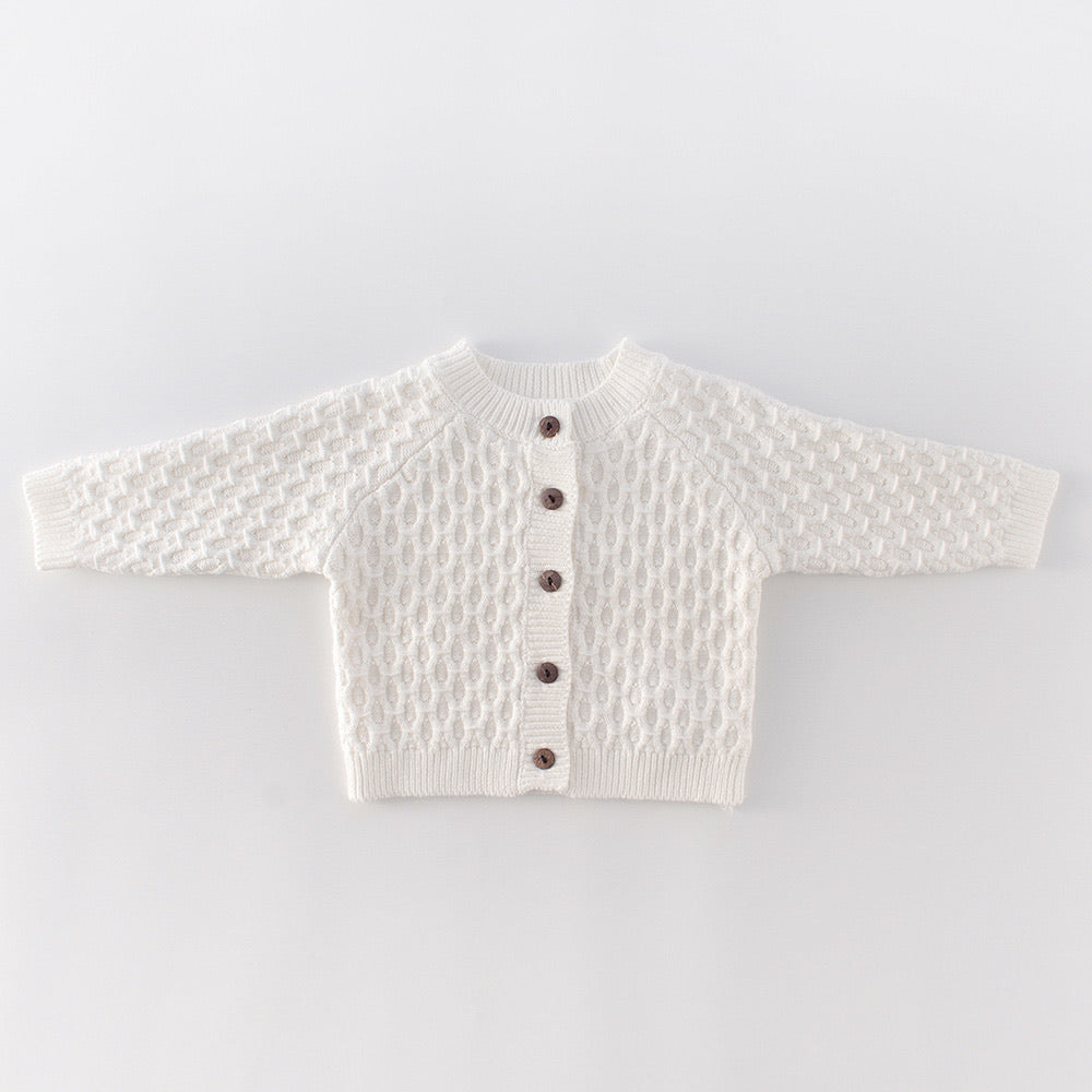 Knitted Baby Cardigan - White