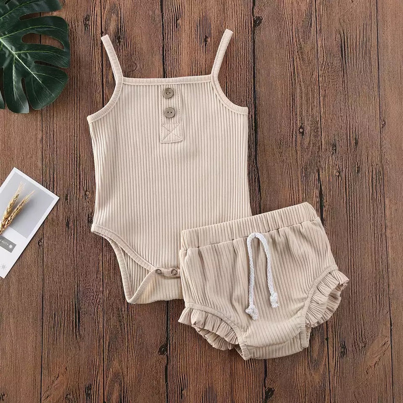 Evelyn 2 Piece Bloomer Set - Tan