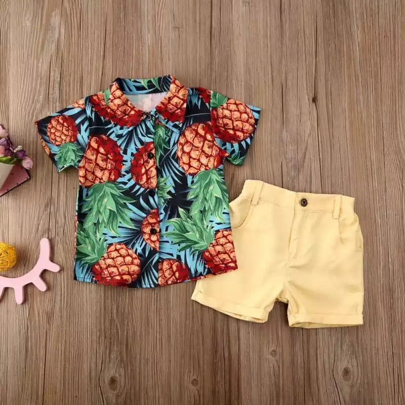 Pineapple collared shirt and dress shorts