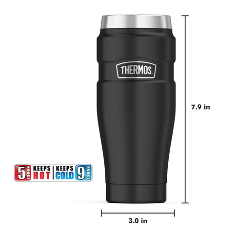 THERMOS® STAINLESS KING™ VACUUM-INSULATED TRAVEL TUMBLER 16OZ, Matte Black