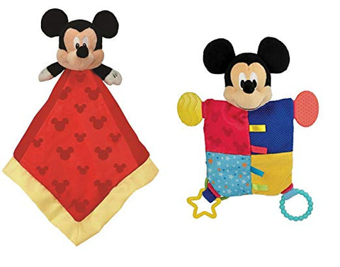 Disney Mickey Mouse Snuggle Blanky + Flat Blanky Teether Set