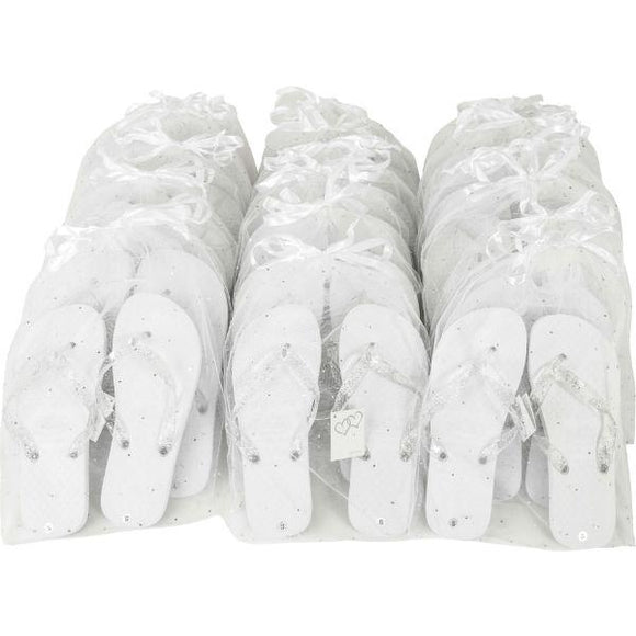 white wedding party pack flip flops