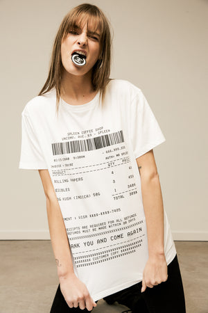 Spleen tee shirt coffee shop receipt model wearing a FW18 spleen t-shirt
