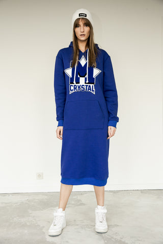 dress long hoodie spleen cotton made in italy blue
