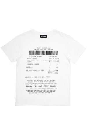 Coffee shop receipt t-shirt, edible, weed, cotton, white, made in italy