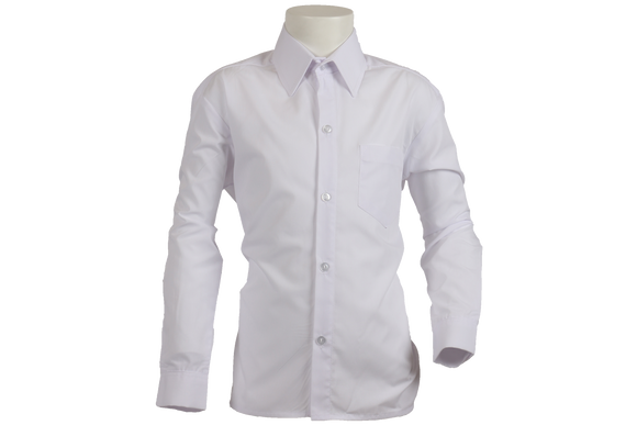 Longsleeve Raised Collar Shirt - White