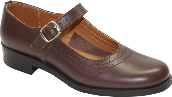 Toughees Pearl Barover School Shoes - Brown