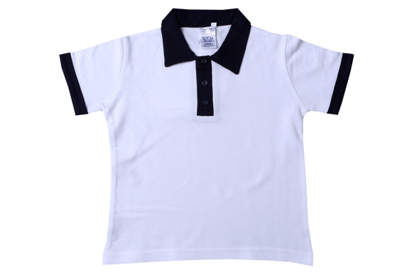 Golf Shirt Plain - White/Navy