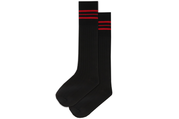 Boys 3/4 Striped Long Socks - Convent Blk/Red