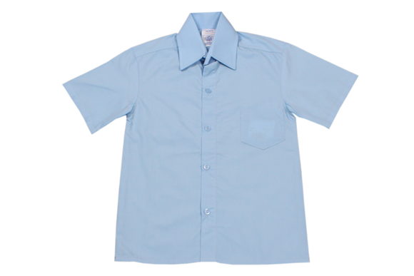 Shortsleeve Raised Collar Shirt - Blue
