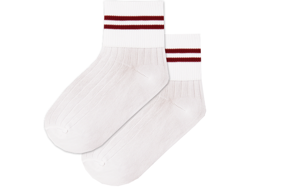 Girls Striped Anklets - Ekuthuleni Wht/Red
